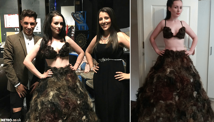 Woman makes dress out of other people's pubic hair after appealing for donations