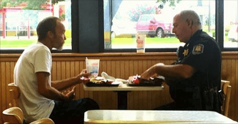 Hitchhiker Trying to Meet Family Is Treated to Lunch, Bus Ticket by Generous Cops: 'We're Here To Help'