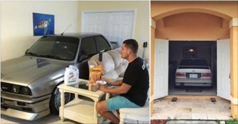 Guy Parks His BMW in His Living Room During Hurricane Matthew
