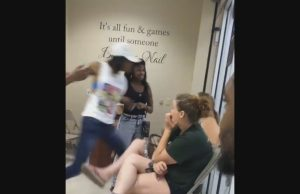 Female Brawl Pops off inside a Nail Shop in Flint