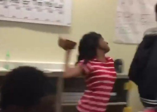 "GIRL SMACKS A GUY WITH A BRICK IN THE MIDDLE OF CLASS! ""SECURITY, SHE'S GOT A BRICK"""