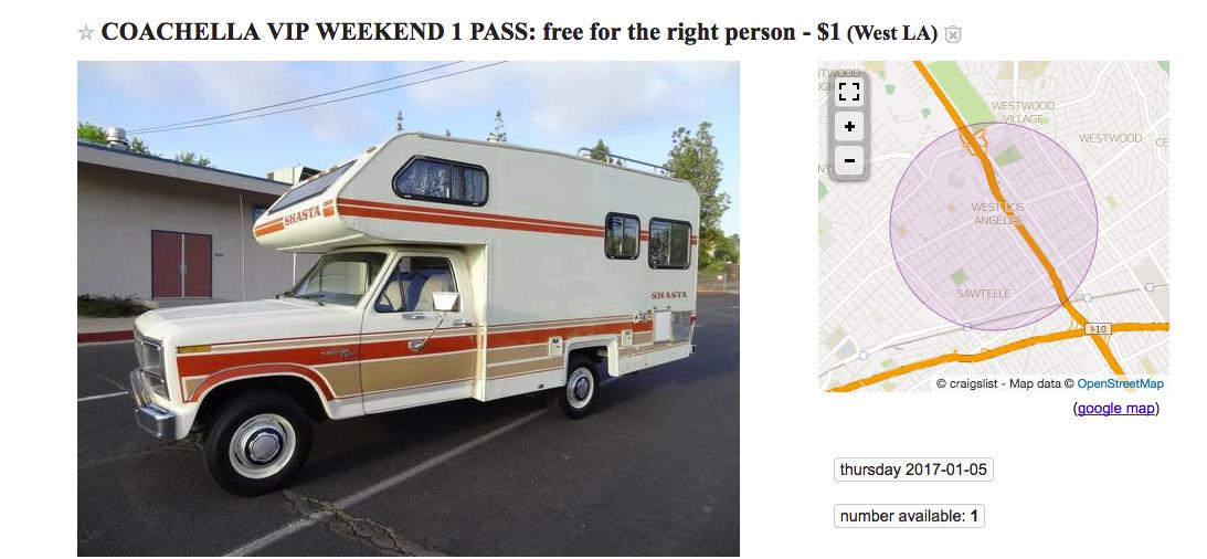 "Creepy Craigslist ad offers free Coachella VIP pass to willing travel ""companion"""