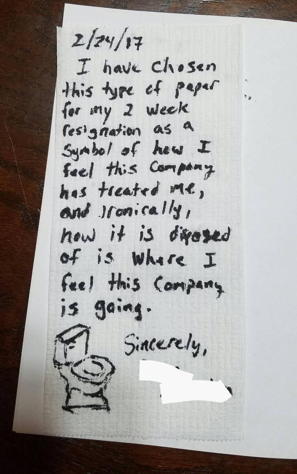 Fed-up employee