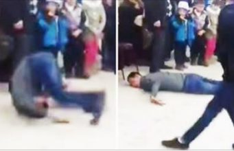 Guy Tries to Upstage Michael Jackson Look-Alike Then Breaks His Neck Instead