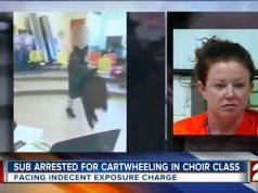 teacher goes commando during cartwheel
