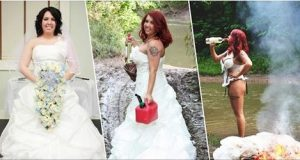 woman put wedding dress on fire