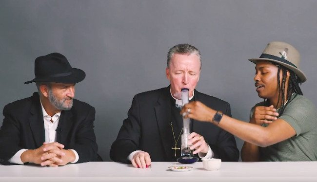 priest, rabbi and atheist smoking weed