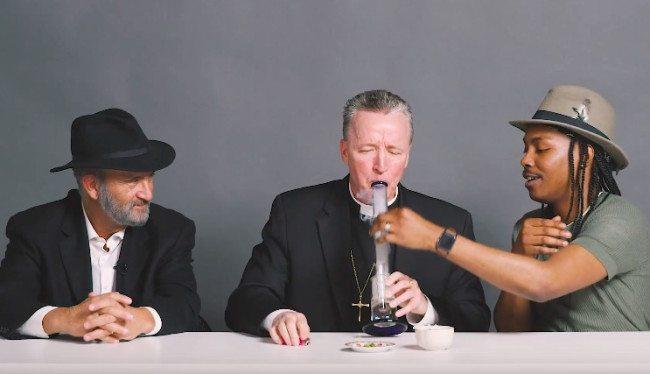 priest, rabbi and atheist smoking weed