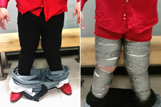 Man with coke taped to his legs