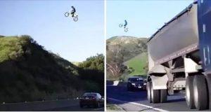 guy jumps over la freeway with dirt bike