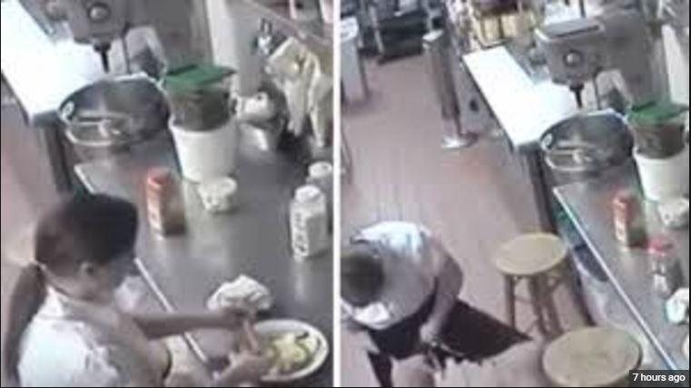 cctv Footage Shows Waitress Using Customer's Hotdog As Tampon