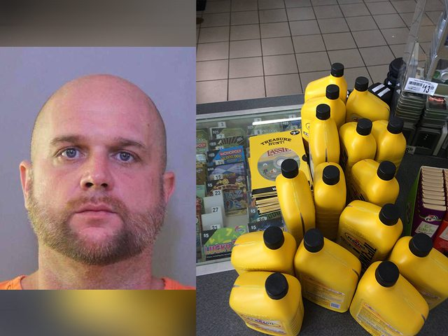 Man arrested after hiding bottle of motor oil in his pants
