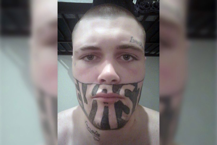 tattoo faced man